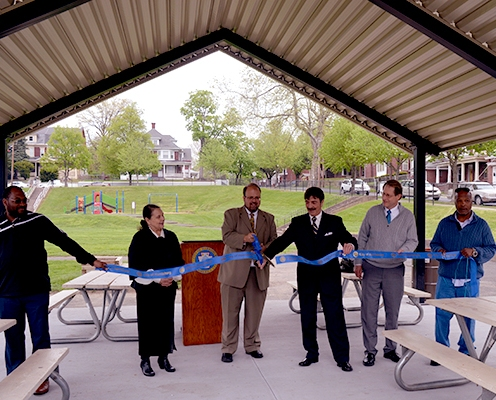 Ribbon cutting for the new pavilion at the 4th and Emerald Playground.